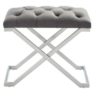 !nspire Velvet and Steel Decorative Bench - 22-in - Grey/Silver