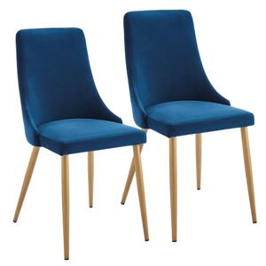 !nspire Dining Chair - 35.75-in - Royal Blue Velvet and Golden Base - Set of 2