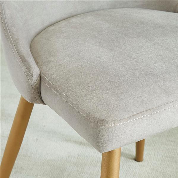 !nspire Dining Chair - 35.75-in - Light Grey Velvet and Golden Base - Set of 2