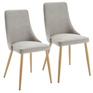 !nspire Dining Chair - 35.75-in - Light Grey Velvet and Golden Base - Set of 2
