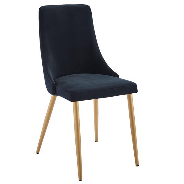 !nspire Dining Chair - 35.75-in - Black Velvet and Golden Base - Set of 2