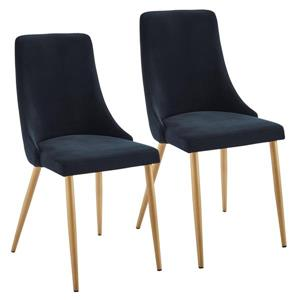!nspire Dining Chair - 35.75-in - Black Velvet and Golden Base - Set of 2