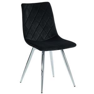 !nspire Dining Chair - 34-in - Black Velvet and Chrome Base - Set of 2