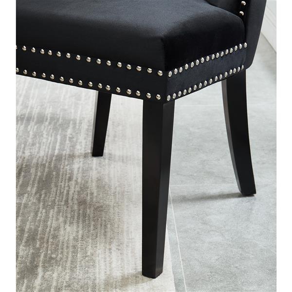 Chaise de salle à manger en velours !nspire, 40 po, noire, ens. de 2