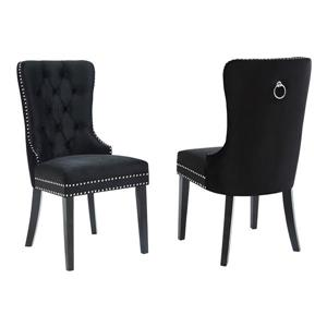 !nspire Velvet Dining Chair - 40-in - Black - Set fo 2
