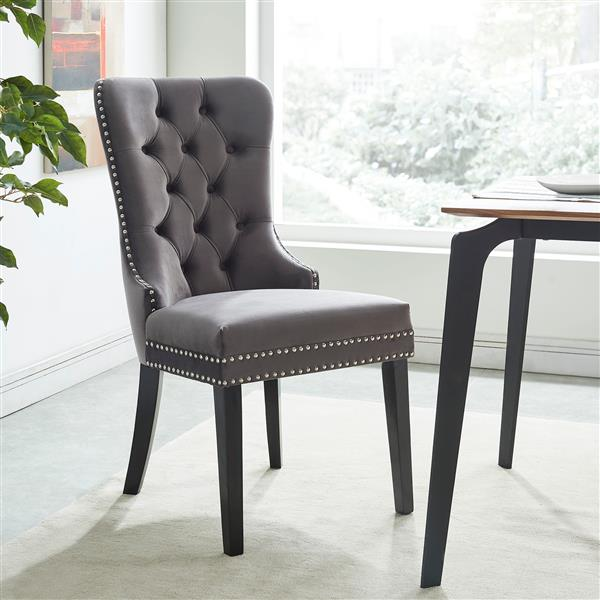 !nspire Velvet Dining Chair - 40-in - Grey/Brown - Set fo 2