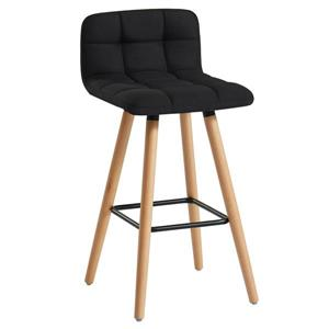 WHI Fabric/Solid Wood Counter Stool - Black - Set of 2