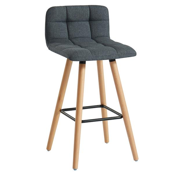WHI Fabric/Solid Wood Counter Stool - Charcoal - Set of 2