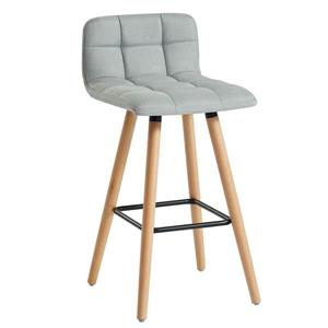 WHI Fabric/Solid Wood Counter Stool - Grey - Set of 2