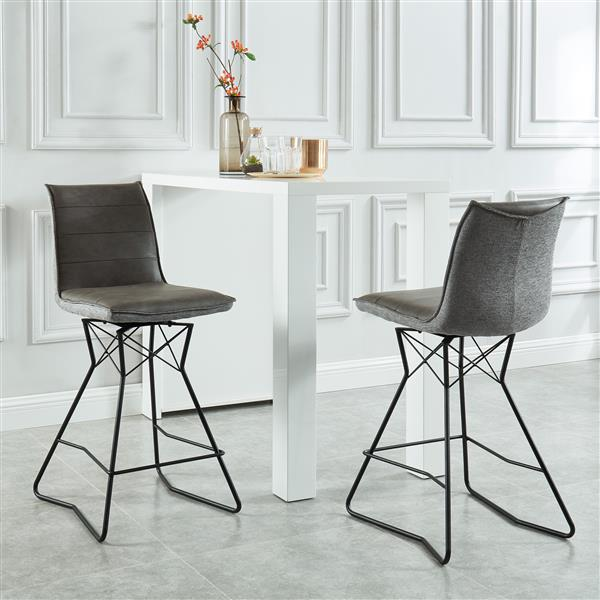 !nspire Swivel Faux Leather/Fabric Counter Stool - Grey - Set of 2