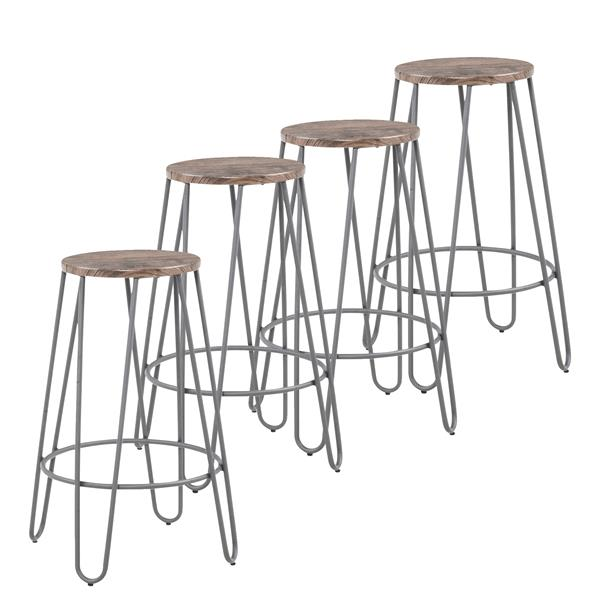 WHI Industrial Counter Stool-  Silver-Grey finish - Set of 4