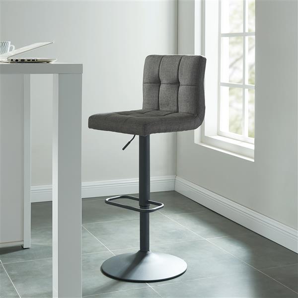 WHI Adjustable Height Fabric Stool -  Blue/Grey - Set of 2