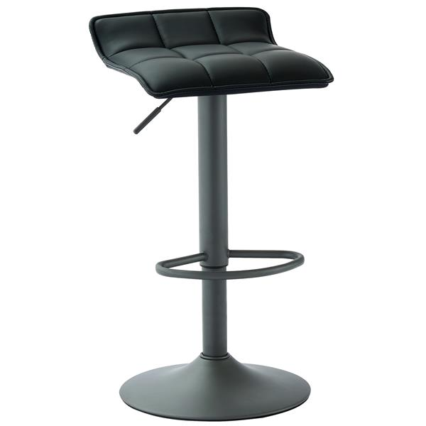WHI Adjustable Height Faux Leather Stool - Black - Set of 2