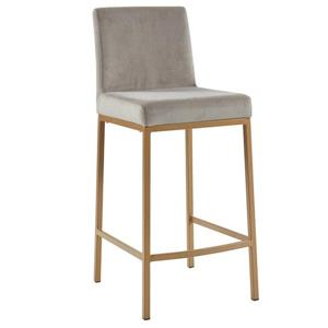 !nspire Velvet Counter Stool - Grey/Gold - 26-in - Set of 2