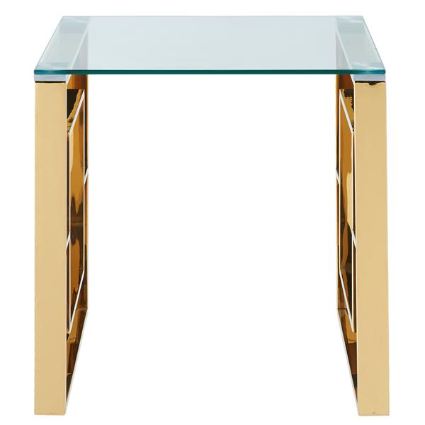 !nspire Side Table - Clear Glass - 21.75-in x 21.75-in - Golden Base