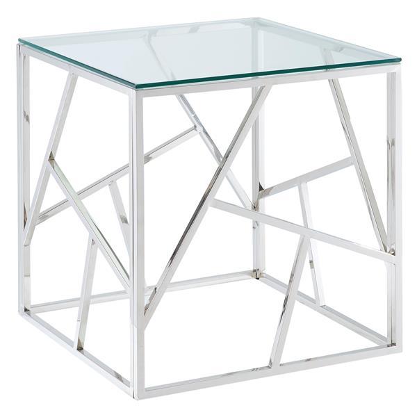 Table d'appoint en verre !nspire, 21,75 po, chrome