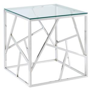 !nspire Side Table - Stainless Steel Base - 21.75-in - Clear Glass