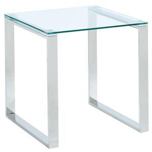!nspire Side Table - Clear Glass - 21.75-in x 21.75-in - Chrome Base