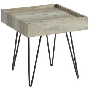 Table d'appoint contemporaine, gris antique et métal