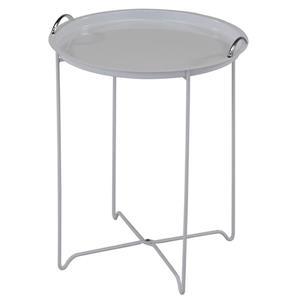 Table et plateau de service amovible rond en métal, blanc