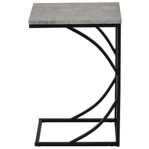 Table d'appoint en forme de C, simili-ciment gris et noir