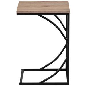 Table d'appoint WHI en forme de C, bois naturel/métal noir