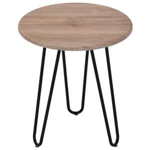 WHI Accent Table - Faux Wood and Black Metal