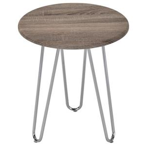 Table d'appoint WHI, placage de bois et chrome