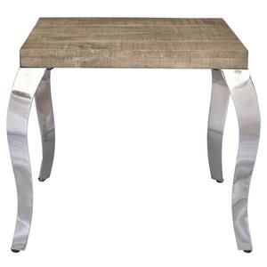 !nspire Side Table - Mango Wood - 22-in x 22-in - Chrome Base