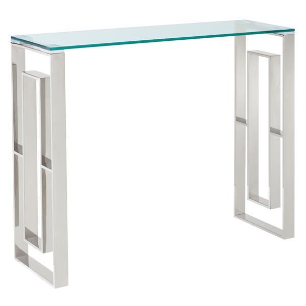 Table console !nspire en acier inoxydable, 30,75 po x 11,75 po, verre transparent