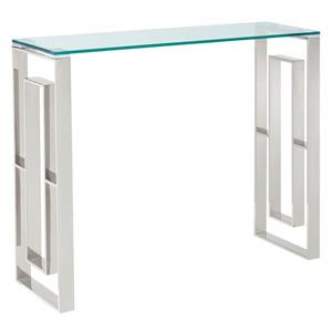 Table console !nspire en acier inoxydable, 30,75 po x 11,75 po, verre transparent