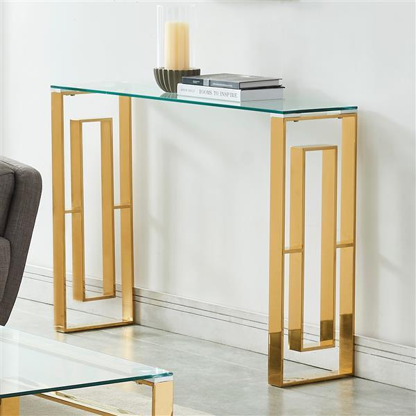 Table console !nspire en acier inoxydable, 30,75 po x 11,75 po, structure dorée