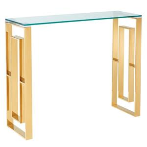 !nspire Stainless Steel Console Table - 30.75-in x 11.75-in - Clear Glass and Gold Base