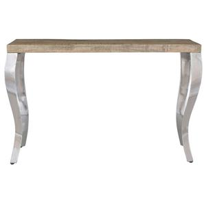 Table console !nspire en bois de manguier, 48 po x 30 po, structure chromée