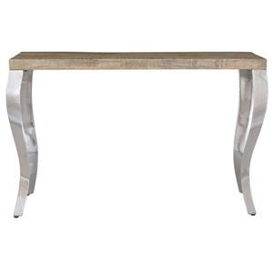 Table console !nspire en bois de manguier, 48 po x 30 po, structure chromée