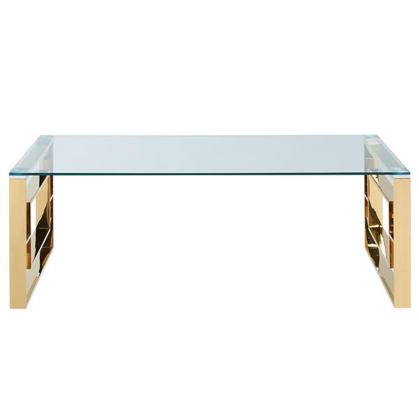 !nspire Coffee Table - 47.25-in x 15.75-in - Clear Glass - Stainless Steel Gold Base