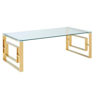 !nspire Coffee Table - Stainless Steel Gold and Clear Glass