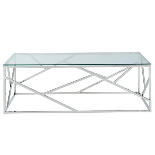 !nspire Coffee Table - 47.25-in x 15.75-in - Clear Glass - Silver Base