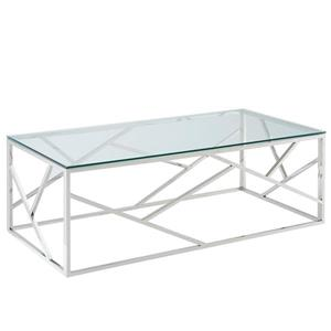 Table basse !nspire, 47,25 po x 15,75 po, verre transparent, base argentée