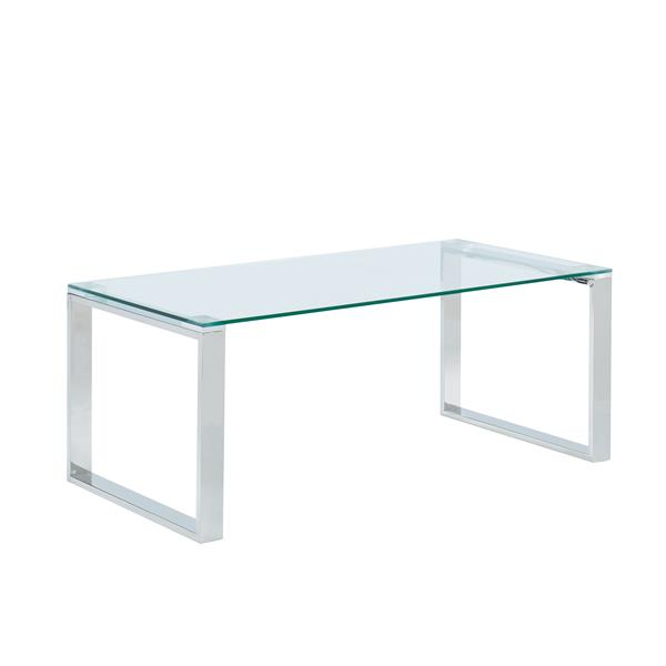 !nspire Coffee Table - 39.5-in x 15.75-in - Chrome Base - Clear Glass