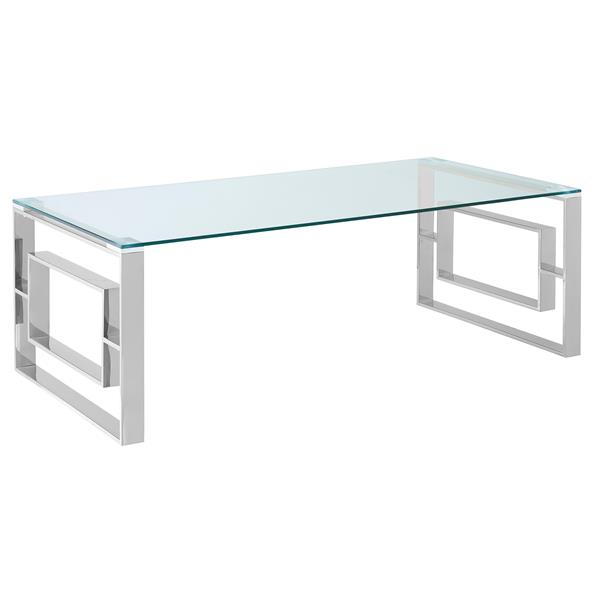 !nspire Coffee Table - 43-in x 24-in - Chrome Base - Clear Glass