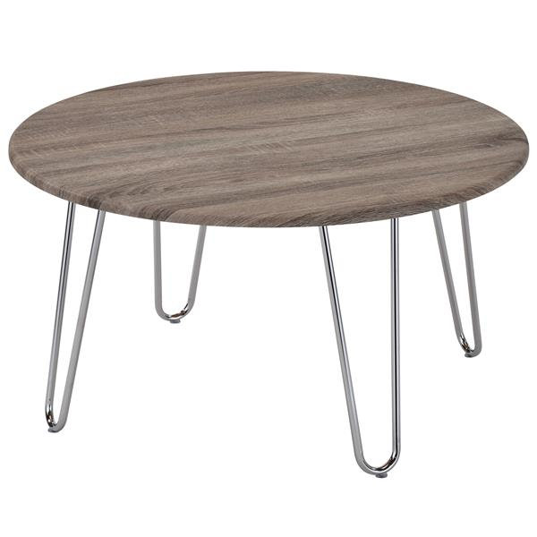 WHI Coffee Table - Faux Driftwood and Chrome - 31.5-in