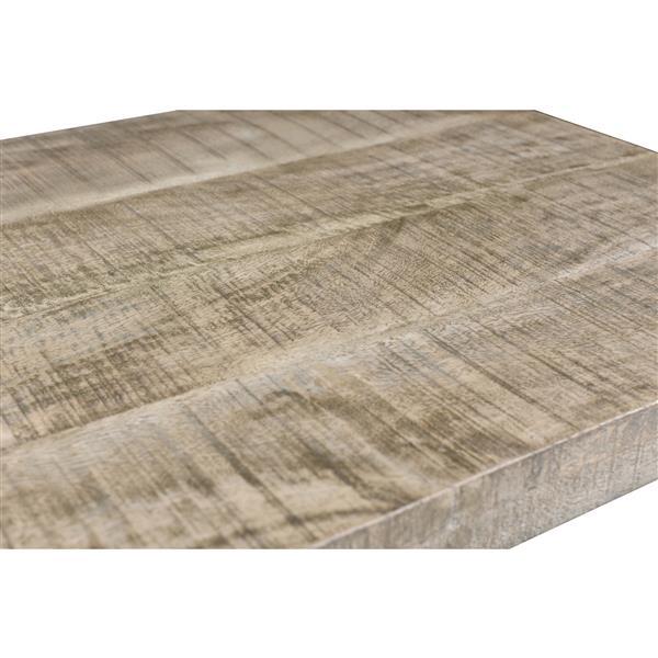 Table basse !nspire en bois recyclé, 48 po x 18 po, base chromée