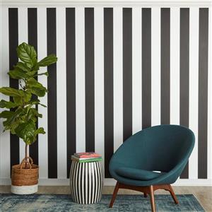 """Papier peint """"Stripe"""", noir et blanc, 56 pi ca"""