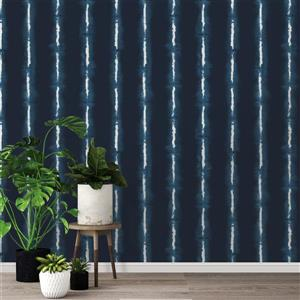 Tempaper Shibori Lines Wallpaper - Indigo - 56 sq. ft.