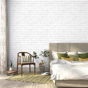 "Papier peint ""Brick"", blanc, 56 pi ca"