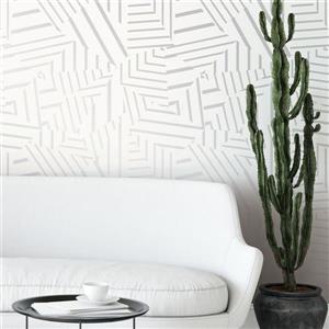 """Papier peint """"Dazzle"""", blanc/argent métallique, 60 pi ca"""