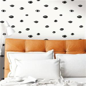 Tempaper Eye See You Wallpaper - White/Gloss Black - 56 sq. ft.