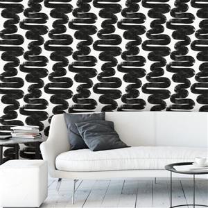 """Papier peint """"Wiggle Room"""", noir et blanc, 56 pi ca"""