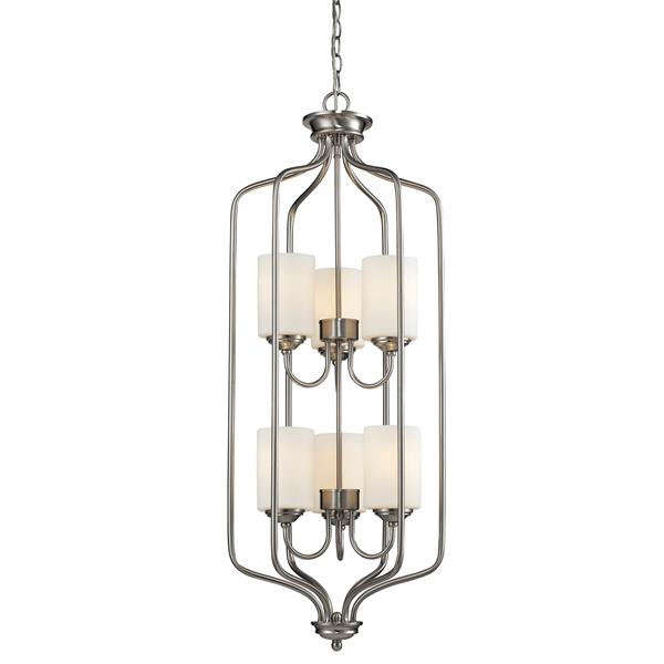 Luminaire suspendue à 6 lumières «Cardinal», nickel